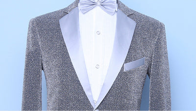 Shenrun Men 2 Pieces Silver Tuxedo Slim Fashion Groom Suit Jacket Pants Singer Drummer Host Party Prom Costume Night Club Suits