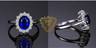 JewelryPalace Created Blue Sapphire Ring Princess Crown Halo Engagement Wedding Rings 925 Sterling Silver Rings For Women 2020
