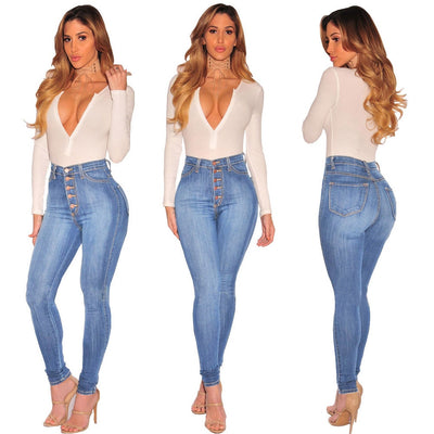 High Waist Jeans for Women 2020 Spring Autumn Blue High Waisted Skinny Jeans Woman Pencil Denim Pants Female
