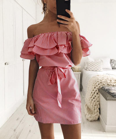 2018 New Shoulder Striped Ruffles Summer woman dress Beach Casual Shirt Short Mini Party Dresses Robe Femme Sexy desigual jurk