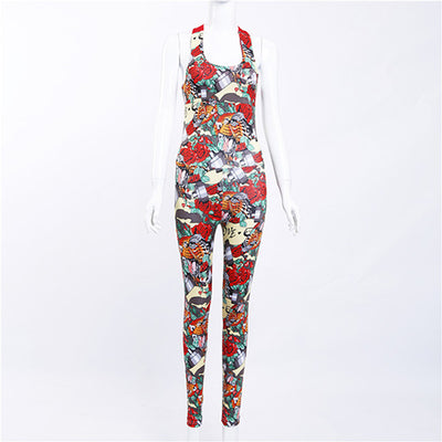 Sexy Yoga Sport Jumpsuits Backless Female Gym Clothes Flower Print Running Fitness Workout Set One Pcs Sport Yoga Set For Women