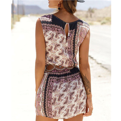 2020 Paisley Mix Print Dresses Women Summer O-Neck Wide Straps Sleeveless Back Hollow Out Elastic Waist Beach Style Mini Dress