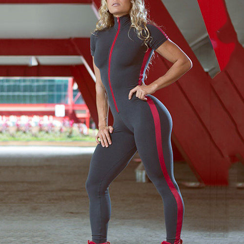 Short Sleeve Zipper Patchwork Tracksuit Women Sportwear Outfit Workout Clothes Women Seamless Set Sport Suit Elastic Yoga Set