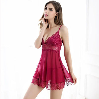 Sexy Lingerie Women Lace Nightwear Mini Spaghetti Strap Nightgowns Backless Night Dress Sleeveless Sleepwear Black Nighties