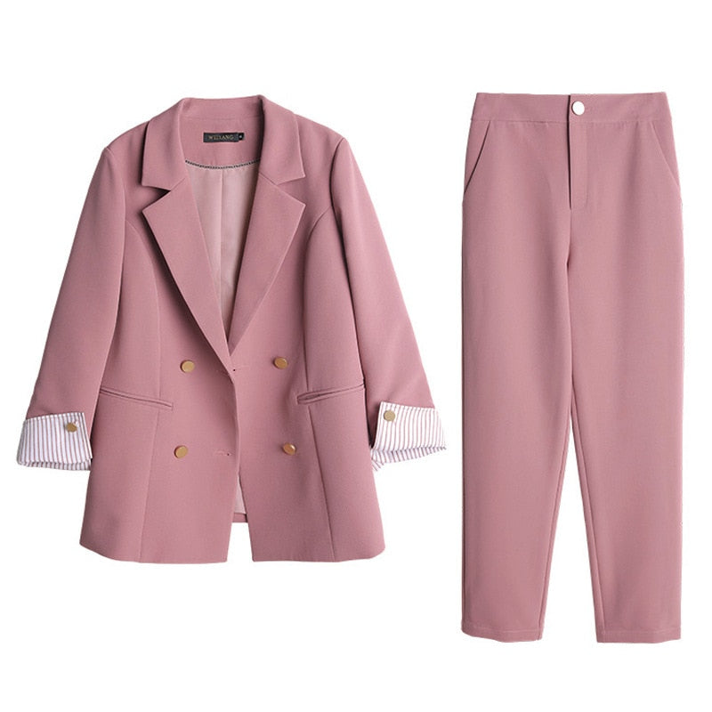 Women's suits 2019 autumn new women's temperament double-breasted pink large size suit jacket casual feet pants set two-piece