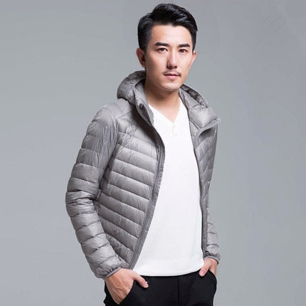 Men's All-Season Ultra Lightweight Packable Down Jacket Water and Wind-Resistant Breathable Coat Big Size Men Hoodies Jackets