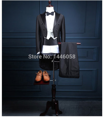 2018 Classic Shiny Black Tail Coat Groom Tuxedos Groomsman Suit Custom Made Wedding Dinner Suits Tailcoat Jacket+Pants+Vest+Bow