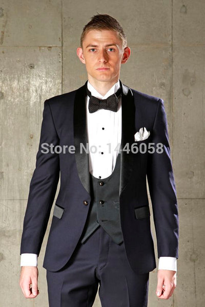 2017 Costume Homme Slim Fit Groomsman Groom Tuxedos For Men Navy Blue Best Men Suit Wedding Men's Suits (Jacket+Pants+Vest+Bow)