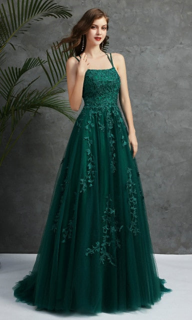 Ladies' Lace Appliques Prom Dresses Long Spaghetti Straps Lace-up Back Sleeveless Formal Evening Party