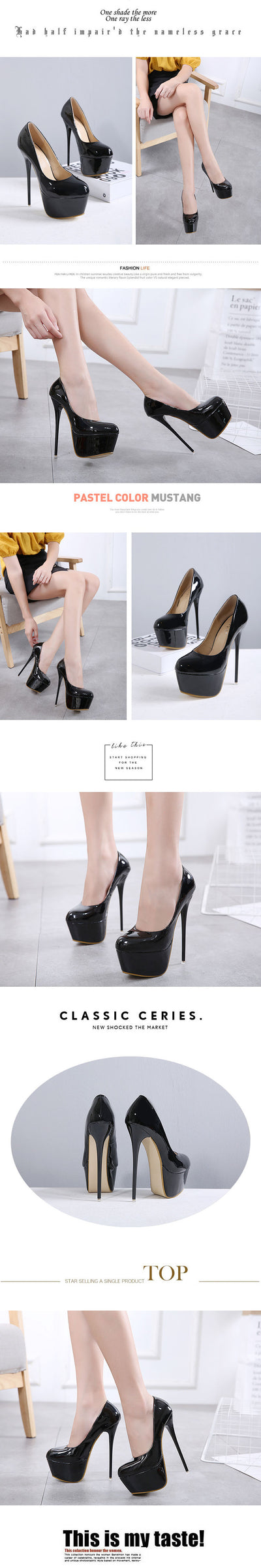 Women's Pumps  Block Heel Nightclub  Pumps High Heels Black
