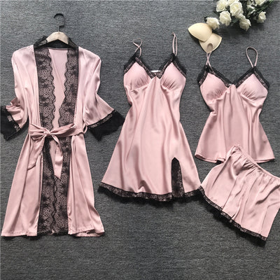 pajamas for woman home clothes Silk Sexy Lace Pajamas Satin Sleepwear