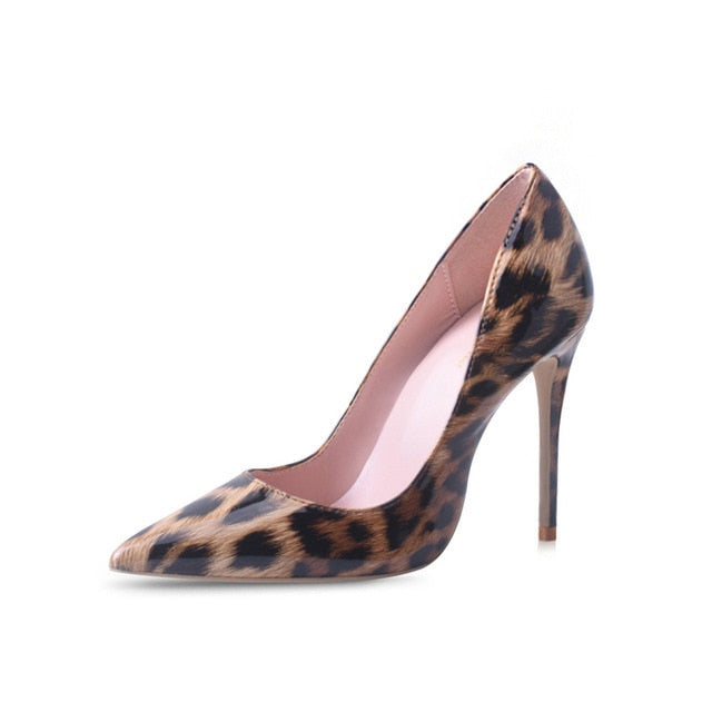 High Heels Shoes Women Leopard Print Sexy Pointy Toe Stilettos Women Pumps  Party Heeled Designer Shoes