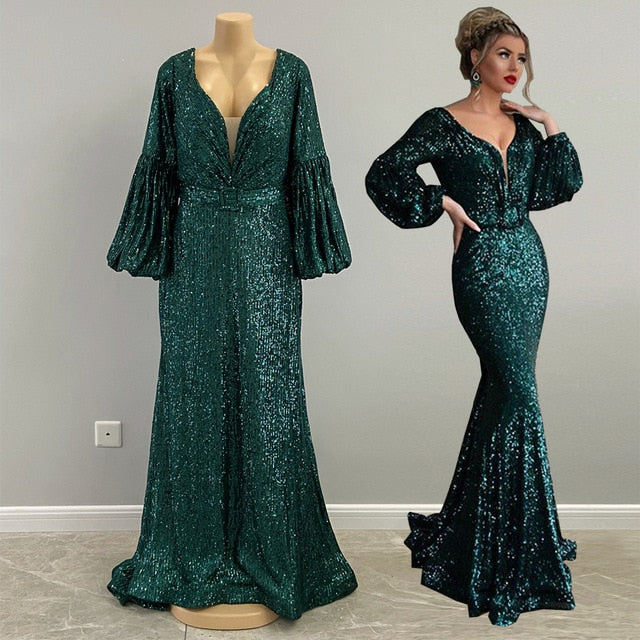Long Evening Dresses 2020 Real Sample Long Sleeve V-neck  Backless Mermaid Formal Emerald Green Evening Gowns