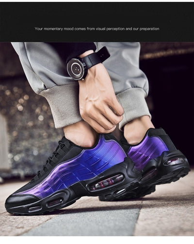 Sneakers Running Shoes Men Air Cushion Shock Men Jogging Shoes Lightweight Spring Laser Fashion Vulcanize Male Sports Trainers
