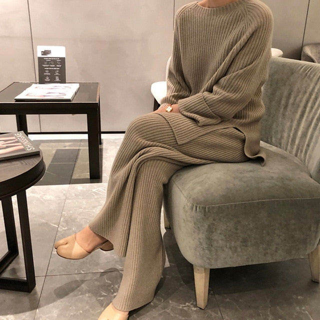 2020 New Fashion Winter Women's Thicken Warm Knitted Pullover Sweater Two-Piece Suits +High Waist Loose Wide Leg Pants Set