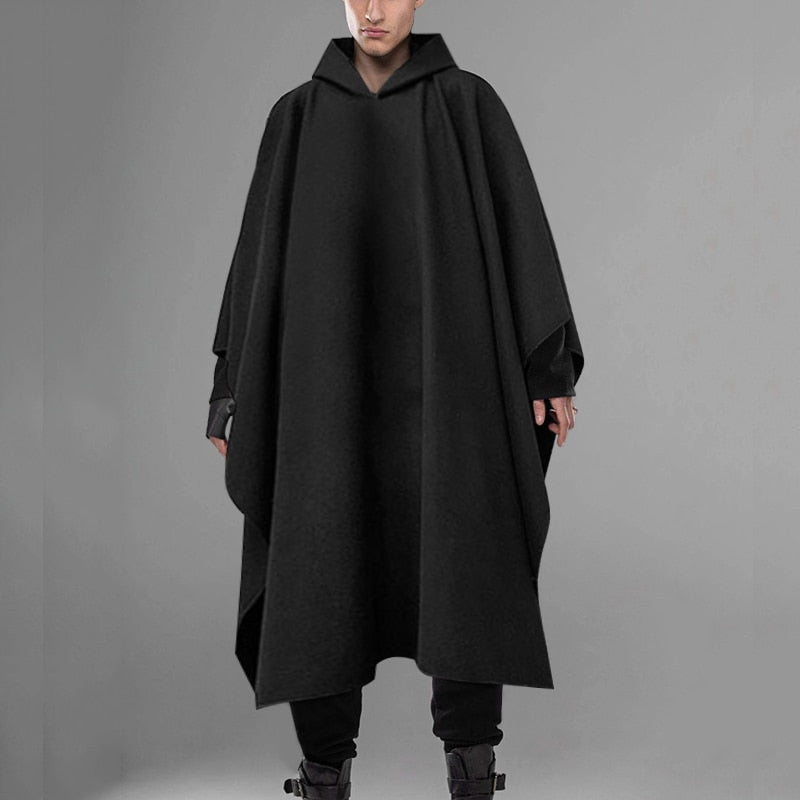 Fashion Men Cloak Coats Hooded Solid Loose 2020 Streetwear Punk Windproof Men's Trench Chic Winter Long Cape Poncho INCERUN