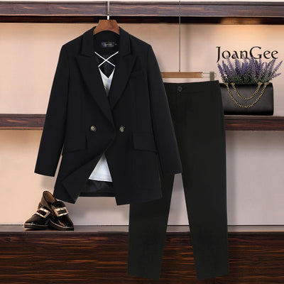 M-5XL large size women's suit pants set New autumn and winter casual professional red jacket blazer Casual trousers set of two