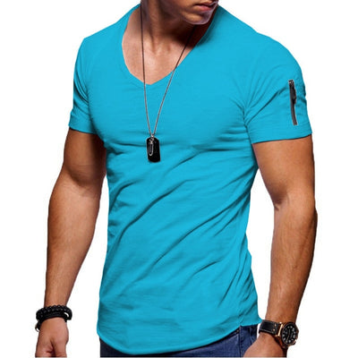 2020 new men's V-neck T-shirt fitness bodybuilding T-shirt high street summer short-sleeved zipper casual cotton top