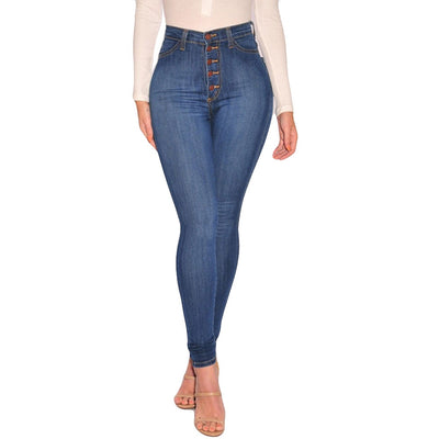 Women High Waisted Skinny Denim Jeans Ladies Spring Autumn Stretch Slim Pants Calf Length Jeans calca jeans feminina Plus Size