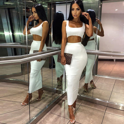 women ribbed knit two piece set long skirt crop tank top sexy elegant festival matching co ord clothes party 2019 summer outfits