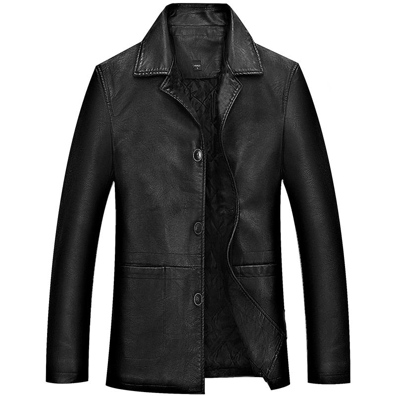 Men's Winter Leather Jacket Soft Thick Warm PU Leather Jacket Male Business casual Coats Man Jaqueta Masculinas Plus Size 4XL