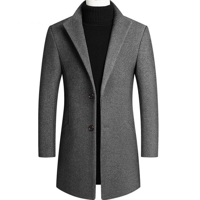 Men Solid Color Wool Thicked Long Trench Coat Men's Single-breasted Slim Fit Dust Coats Business Casual Overcoat Male 7 Color