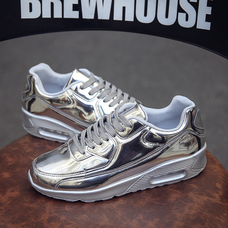 Fashion Sneakers Men Gold Sliver Breathable Mens Shoes Casual Designer Flat Shoes Male Luxury 2020 Bright Shose buty meskie BA02