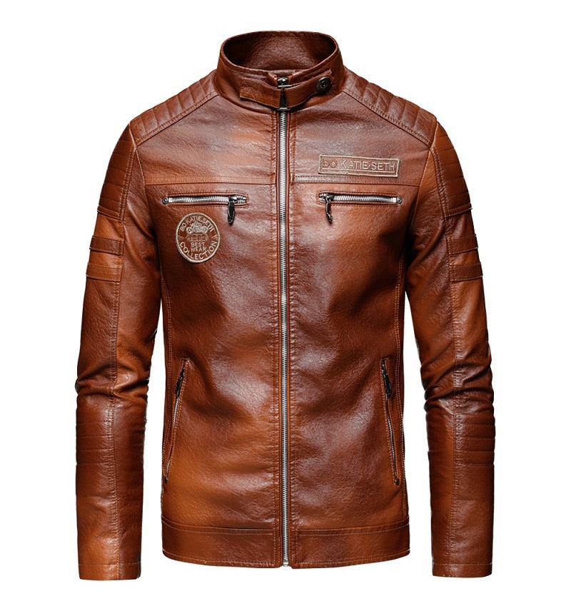 Men 2020 Autumn New Brand Casual Motor Distressed Leather Jacket Coat Men Winter Vintage Outwear Faux Leather Jackets Men