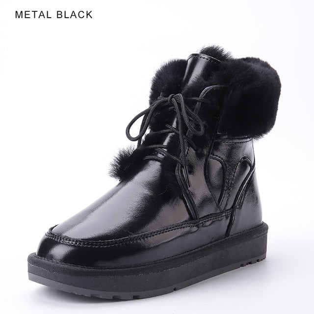 New Style Leather Sheep Fur Lined Women Fashion Ankle Winter Boots Casual Snow Boots Winter Shoes Flats Waterproof
