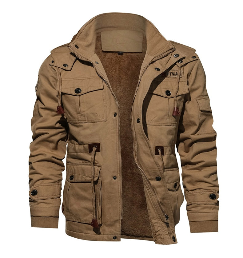 Military Thicken Fleece Jacket Mens Winter Casual Hooded Jacket Coat Pilot Cargo Cotton Jackets Windbreaker Parka Man