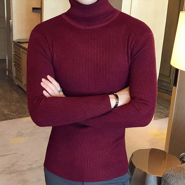 brand Men Turtleneck Sweaters and Pullovers 2020 New Fashion Knitted Sweater Winter Men Pullover Homme Wool Casual Solid Clothes