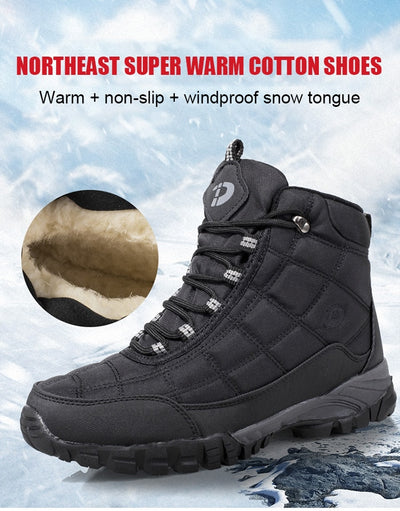 Quality Plus Velvet Men's Casual Shoes Winter Non-slip Warm Snow Boots With fur Wear-resistant High-top Working Cotton Shoes Man