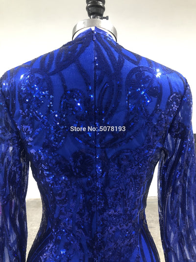 N215 Elegant royal blue fashion V-neck long sleeves zipper mermaid/trumpet sequins long evening dress/formal gowns free shipping