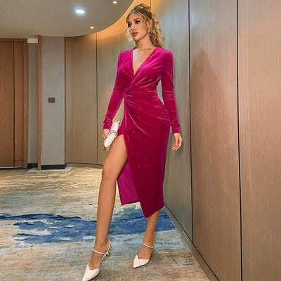 Dresses Woman Party Night Midi Dress 2021 Spring New Women Sexy V-neck Dress Long-sleeved Pleated Waist Split Velvet Dress