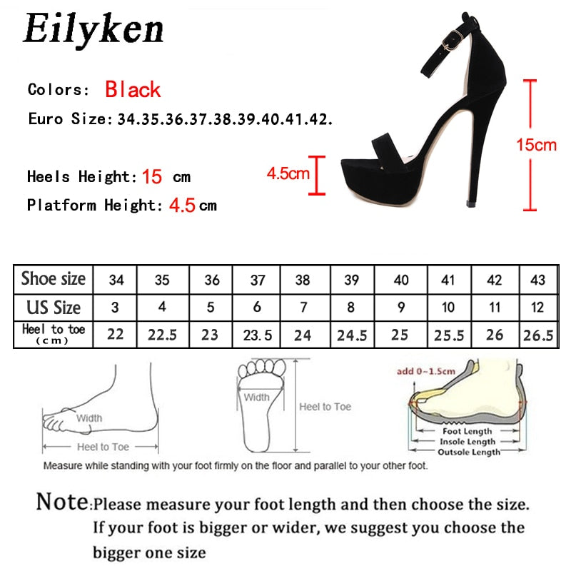 Eilyken Black Gladiator Buckle Strap Platform Sandals Women 2021 Summer Pumps Thin High Heels Club Party Shoes Ladies Sandalias