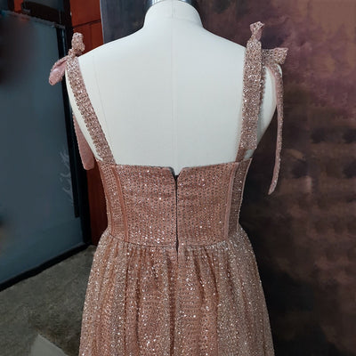 Sweetheart A-Line Glitter Prom Dress Rose Golden Sequined Evening Dress Floor length Party dresses