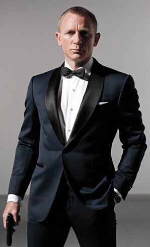 Top Quality Custom Made Dark Blue/black  Groom Tuxedos Suit Worn In James Bond Wedding Suits For Men Prom Jacket Pants Bow Black