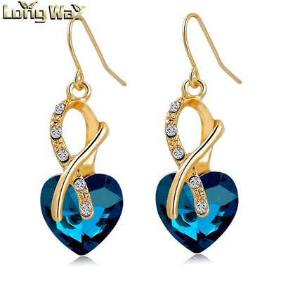CHICVIE Gold Color Blue Earrings With Stones for Women AAA Cubic Zirconia Crystal Heart Earrings Fashion Jewelry Love Gifts