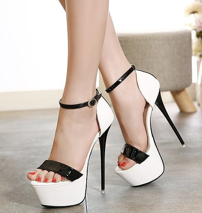 Sandals Style Sexy  high heels Open Toe Buckle Nightclub Shoes Black
