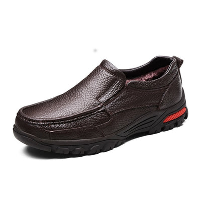 MVVT Plus Size Genuine Leather Shoes Men Winter Shoes Slip On Men Loafers Casual Shoes Height Increasing Business Snow Shoes