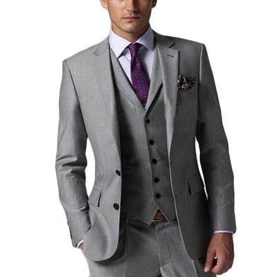 2018 New arrivals Custom Made dark gray Groom Tuxedo/Wedding Suits For Men 3 pieces Suits ( jacket+Pants+vest+tie)