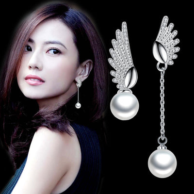 100% 925 sterling silver fashion imitation pearl angel wings ladies`stud earrings women jewelry female Christmas gift cheap