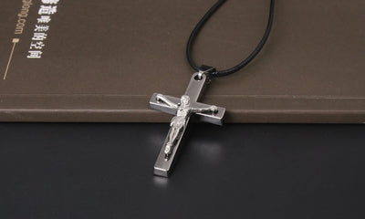 Cross Necklace INRI Crucifix Jesus Piece Pendant Necklace Silver Color Stainless Steel Men Chain Catholic Jewelry Gifts