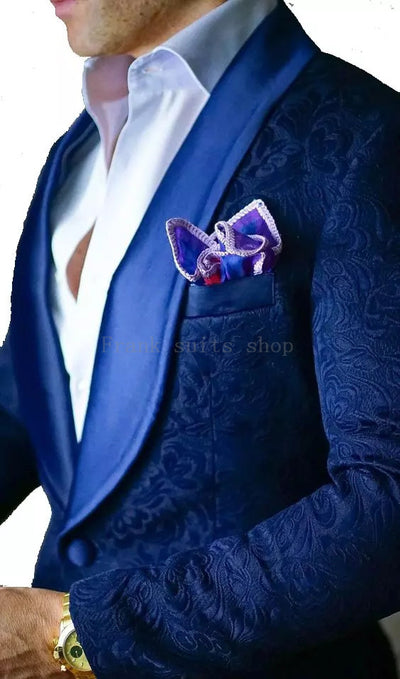 New Arrival Mens Suits Ivory 2018 jacquard Groom Tuxedos Shawl Lapel Men Suits Wedding suits ( jacket+Pants)