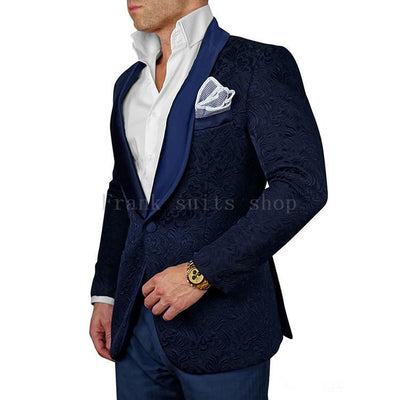 Jacquard Suit Men 2018 Navy Blue Tuxedo Jacket 2 Piece Men Suits For Wedding Shawl Collar Mens suits  ( jacket+Pants)