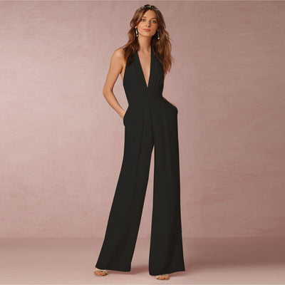 New Jumpsuit Women Clubwear V-Neck Playsuit Sleeveless Jumper Bodycon Party Romper Long Black Jumpsuit Female Summer Backless