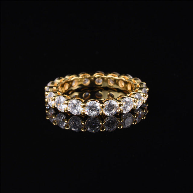 Luxury 925 SILVER&GOLD SETTING PAVE FULL CZ ETERNITY BAND ENGAGEMENT WEDDING Rings DIAMOND simulated PLATINUM Size 5,6,7,8,9,10