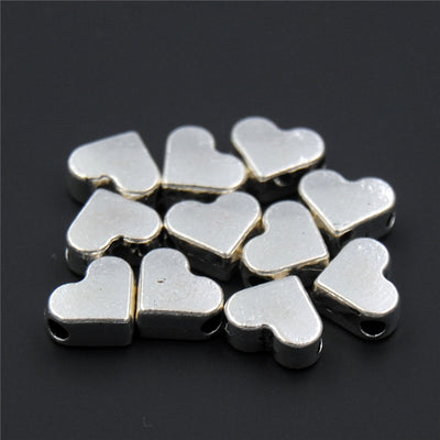 100PCS Silver/gold Heart European Small Hole Spacer Beads Fits Diy Handmade Charms Bracelets Accessories