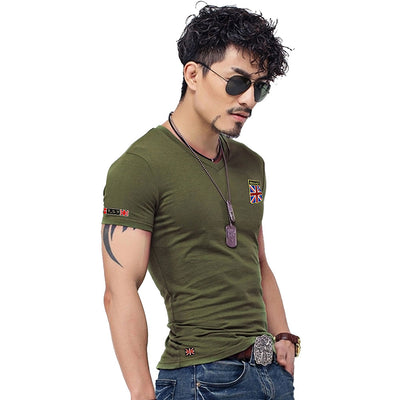 New Arrival Flag T Shirt Men Summer Fashion British Flag Embroidered Men Slim Fit V Neck T Shirt Brand Men Cotton Funny T Shirts