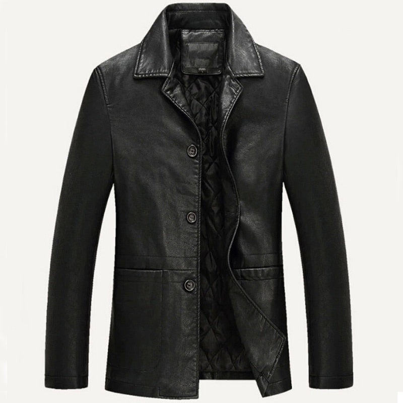 Leather Jacket Men Soft PU Leather Jacket Male Business casual Coats Man Jaqueta Masculinas Inverno Couro Large size XXXL 4XL